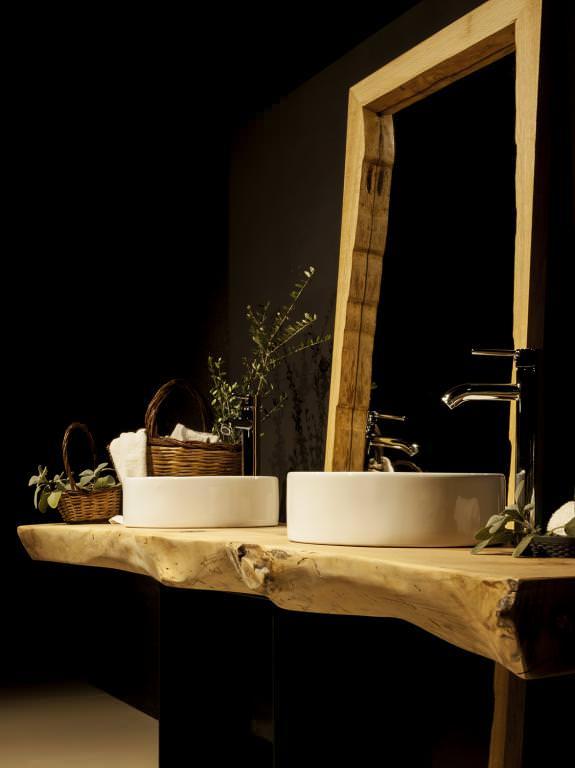 encimera de baño de madera natural